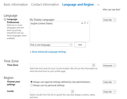SharePoint Online Profile; Language and Region settings